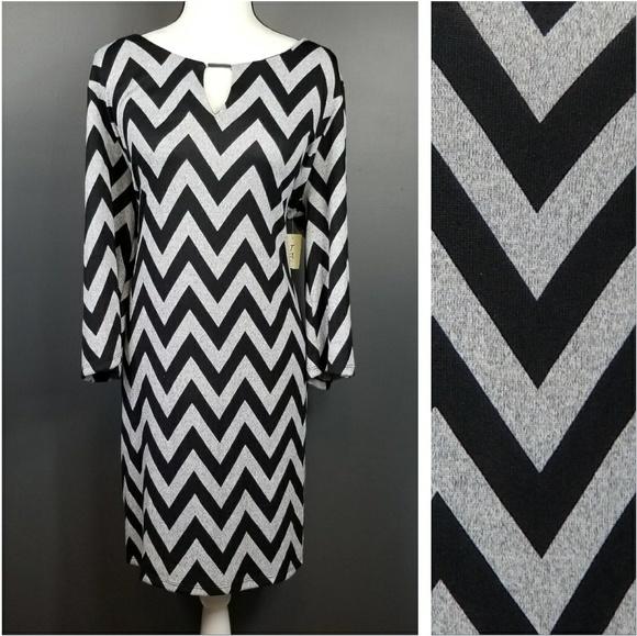 Tacera Dresses Black Gray Chevron Plus Size Dress 2x Nwt Poshmark